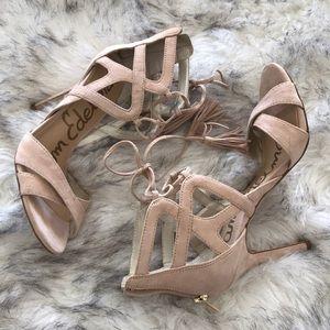 Blush sandals. Nude heels